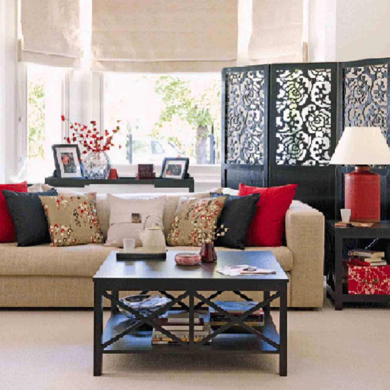 Red Black And Cream Living Room Oriental Inspired Living Rooms Home And Spirit